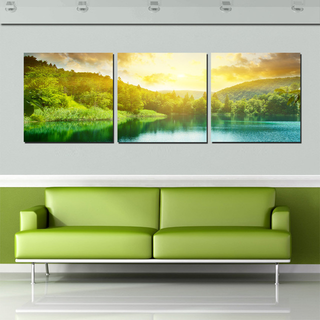 3 Panel Canvas Print Oil Painting Green Landscape Sunrise Lake View Wall  Decor Art Paintings For Part 92