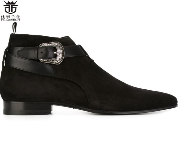 2019 Fr. Lancelot Heißer Design Echt Leder Spitz Stiefel Männer Top Marke Chelsea Stiefel Britischen Stil, Mode Winter Stiefel Männer
