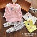 Nova primavera / outono do bebê meninas bonito conjunto de roupas crianças flores roupas definir crianças meninas casacos + calças 2 pcs set babi menino roupas