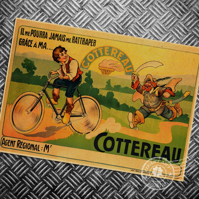 HD Cartoon Bicycle bike photo vintage =poster retro wall art sticker ...