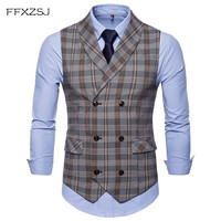 FFXZSJ 2018 Best Selling Mens Suit Vest Fashion Casual Everyday Slender Checker Lattice Men's Vest Coat Thin Business Jacke