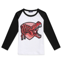 Hot Sale Children Clothing Color Block Kids T-Shirt Boys Raglan Long Sleeve Tops Baby Boy Tshirt Dinosaur Printing Tee Shirt color block long sleeve applique shirt