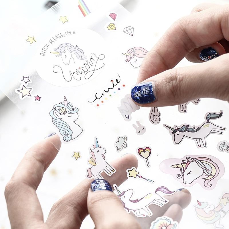 1 Sheet Creative Cute Unicorn Mini Paper Sticker Decoration Diy Ablum Diary Scrapbooking Label Sticker Kawaii Stationery