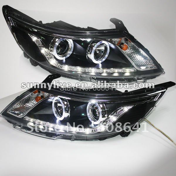 For KIA RIO K2 LED Angel Eyes Head Lamp Projector Lens 2011 -2012 year