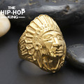Mens Boys Gold Tone Carved Apache Indian Chief Head Ring 316L Stainless steel Ring US Size 8-12 Wholesale Jewelry