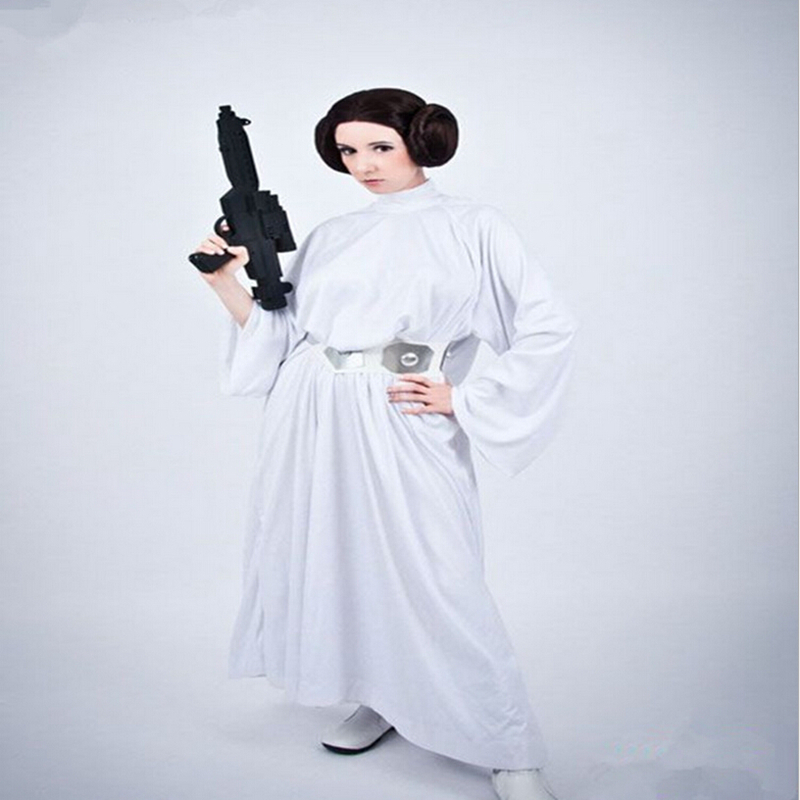 Cosplay Clothing Star Wars The Princess Leia Costumes White Long Dress The Game Play Cloth