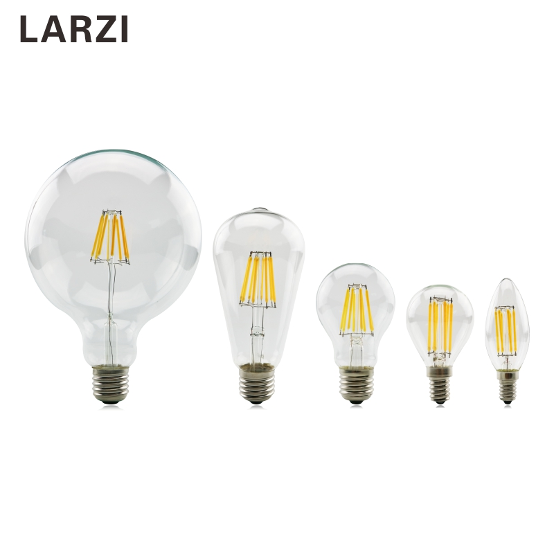 LARZI Led Bulb E27 E14 2W 4W 6W 8W Vintage Edison Lamp A60 ST64 C35 G95 G125 AC220V Transparent Glass Filament Light Retro Lamps