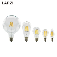 LARZI Led bulb E27 E14 2W 4W 6W 8W Vintage Edison lamp A60 ST64 C35 G95 G125 AC220V transparent Glass Filament light Retro lamps 3d fireworks retro edison bulb 4w e27 g125 led light home bar decor lighting colorful glass globe lamp 420lm ac85 265v