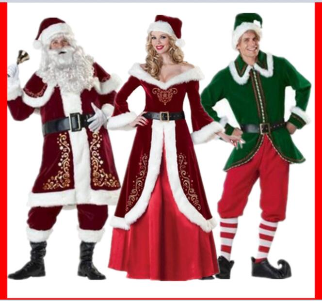 Adult Santa Claus Costume Suit Plush Father Fancy Clothes Xmas Cosplay Props  Men Christmas Prestigious Womens Santa costume cac89929d