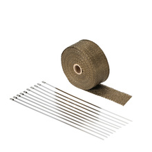 10m Titanium High Temp Exhaust Heat Wrap Heater Resistant Downpipe 10 Ties Car Tape Replacement for Car Motorcycle exhaust