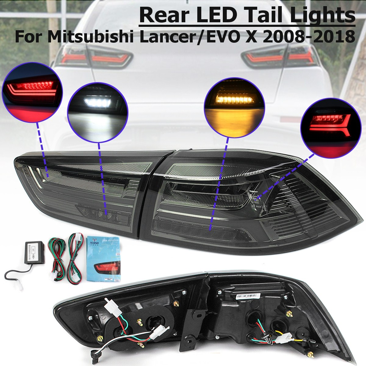 1 Pair for Mitsubishi Lancer/EVOx2008-2017 Rear LED Tail Brake Light Lamps Tail Light Signal LED DRL Stop Rear Lamp Accessories free shipping led tail lamps assy bm style light bar rear lamps tail lights fit for hyundai elantra 2012 2015