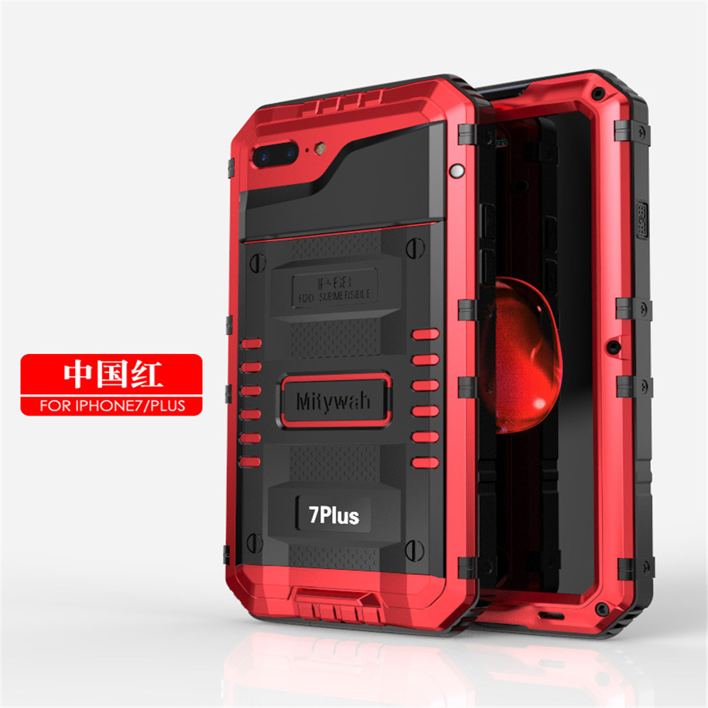waterproof shockproof metal shell Case For iPhone7,Metal +Tempered Glass + Silicone metal aluminum back cover case