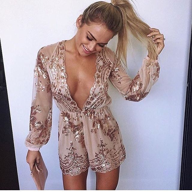 Women's Clothing Glamaker Fluorescence Sexy Women Jumpsuit Romper Elegant Transparent Sleeveless Jumpsuit Short Hollow Out Casual Overalls Female