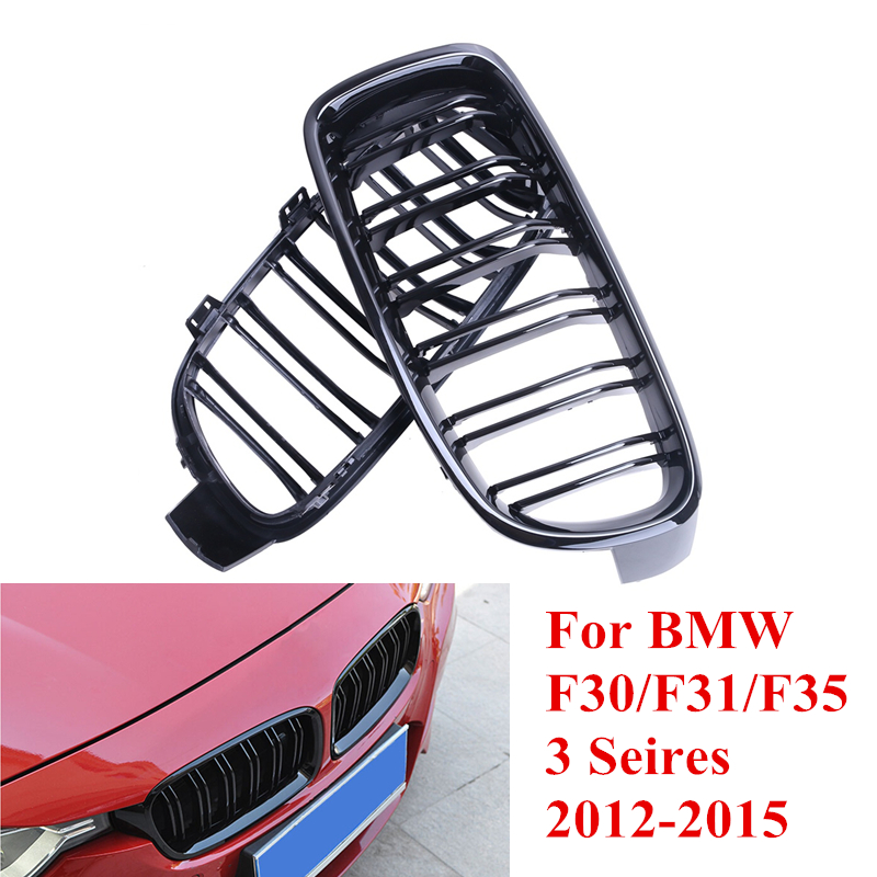 ФОТО 2x Gloss Black Double Slat Gloss Black Front Grill Grille For BMW F30 F31 F35 M3 328i 335i 320i 3-Series Car Style #P246