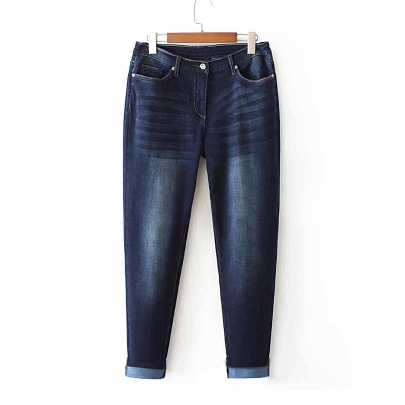 Fashion Super large size   jeans   women trousers Elasticity denim casual pants female High waist Washed cotton Straight pants G164