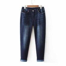 Mode Super grote maat jeans vrouwen broek Elasticiteit denim casual broek vrouwelijke Hoge taille Gewassen katoen Rechte broek G164