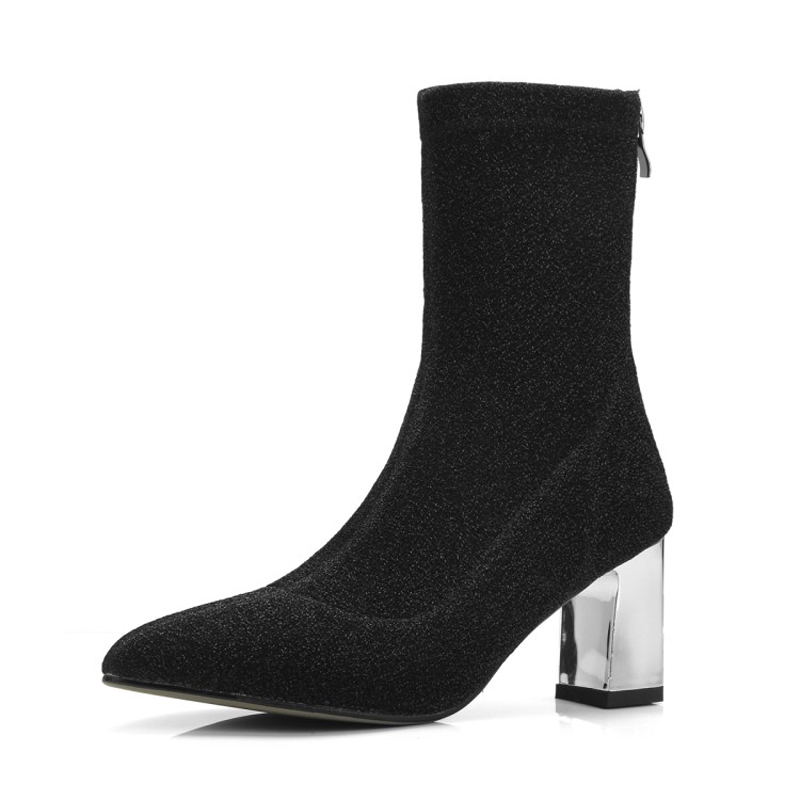 Women's Boots Pointed Toe Elastic Ankle Boots Thick Heel High Heels Shoes Woman Female Socks Boots shoes 2018 Spring size 43 xiuningyan women s boots round toe elastic ankle boots thick heel high heel shoe woman female fashion stretch socks boots winter