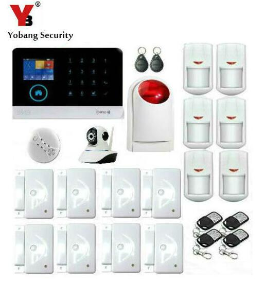 Yobang Security-WIFI GSM SMS Alarmas De Seguridad Para Casa Wireless Strobe Siren HD IP Cam Smoke Detector APP Control Alarm Kit