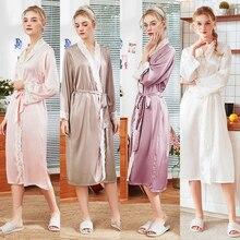 Wasteheart Spring Fashion Purple Sexy Women Robe Lingerie Sleepwear Faux Silk Lace Nightwear Pajama Woven Bathrobe Plus Size