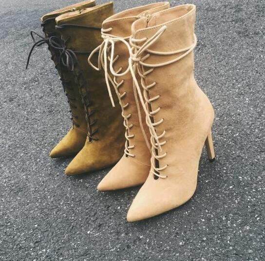 Women Back Lace up Mid-calf Boots Pointed Toe High Slim Heel Warm Winter Shoes