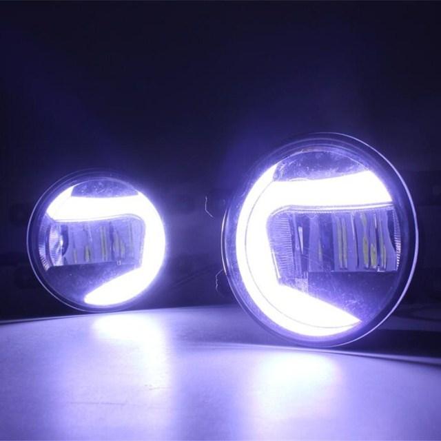 2in1 Highlight LED drl Daytime Running Light +LED Fog Lamp For toyota hiace hilux 2010 2012 2014 2016