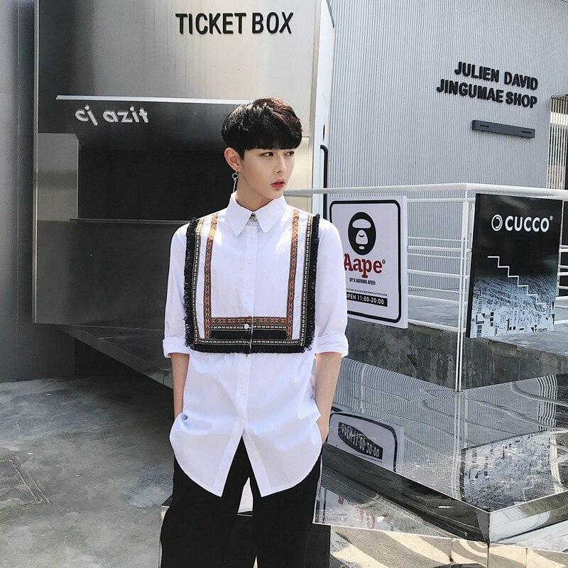 2018  Summer National Style Printed Fringe Decoration Men's Seven-sleeve Shirt Trend Men's Short Sleeve Shirt  M-XL