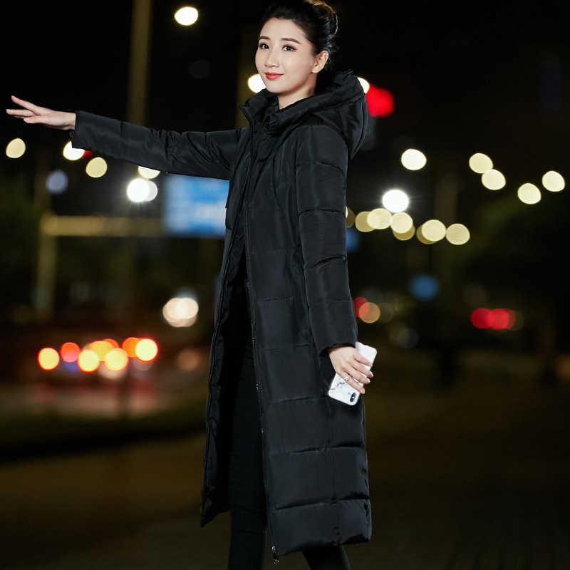 2018 зимняя куртка-пуховик для женщин длинное пальто теплые парки Толстые женские теплые шерстяные кролик меховой воротник высокое качество куртки плюс размер