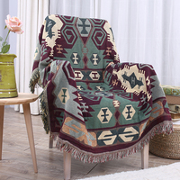 Cotton Kinited Blanket Rectangular Lace Bohemia Geometry Blanket Decorative Throw Stitching Blanket For Bed Thick Wool