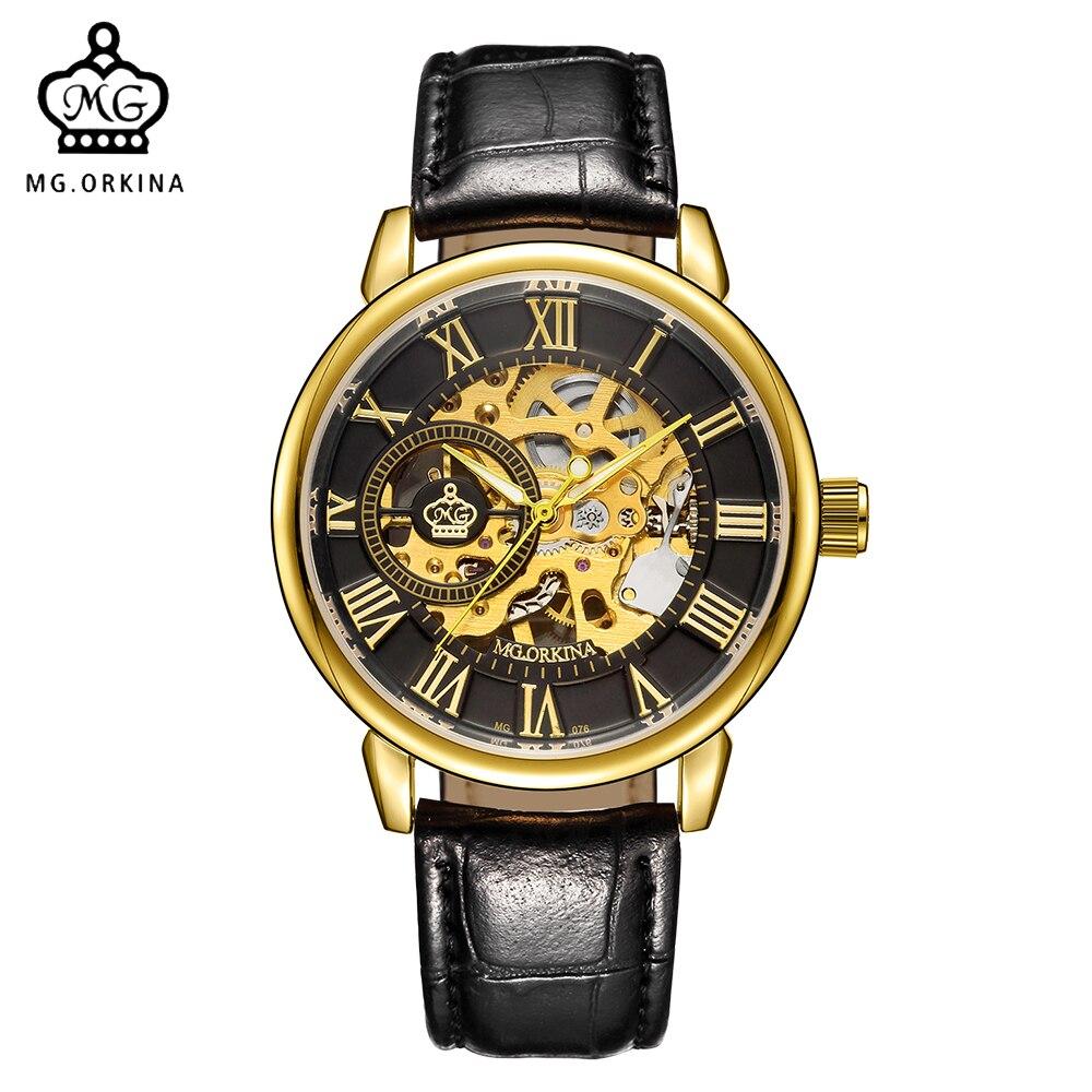 ORKINA Мужские часы Slim Case Мужские наручные часы Роскошный золотой тон Скелетон с ручным заводом Механические часы Стимпанк Херрен Армбандур