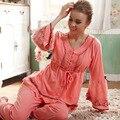 2016 Primavera Verão Outono 100% Algodão Mulheres Pijamas Conjuntos de Sleepwear Calça Cheia Senhora Camisola Casa Feminino Roupas Plus Size 2XL