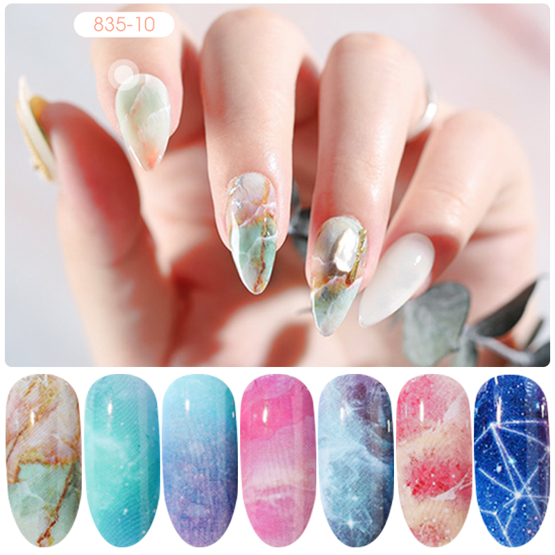 HNUIX 10 colours Nail art star transfer paper hot sale Rainbow sky Japanese style nail foil sticker nail polish adhesive sticker-in Stickers & Decals from Beauty & Health