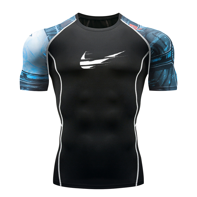 2018 Quick Dry Slim Fit Tees Men Printed   T  -  Shirts   Compression   Shirt   Tops Bodybuilding Fitness O-Neck Short Sleeve Male   T     Shirt