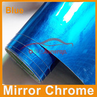 Free shipping Wholesale 30M a roll car wrapping film Car Sticker blue Mirror Chrome vinyl with Air bubble free car decoration