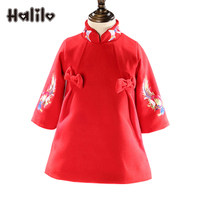 Halilo 2018 Girls Clothing Children Dresses Red Color A Line Bow Autumn Winter Kids Dresses Chinese