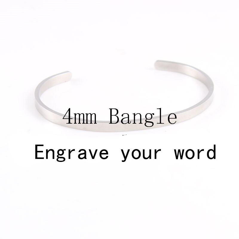 Top Quality10Pcs/lot 3 Color Stainless Steel Bangle Bracelet Engraved Your Letters Banlge Silver Plated For Women&Men Gift