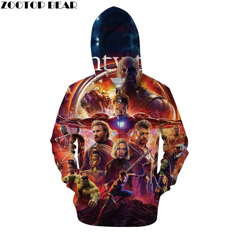 3D Zip Hoodie Men Zipper Hoody Casual Sweatshirt Brand Tracksuit Avenger alliance Pullover Male Coat HipHop DropShip ZOOTOPBEAR
