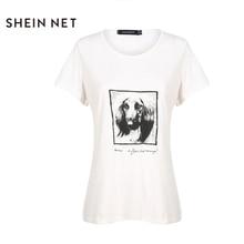 Sheinnrt 2017 Fashion Summer T shirt Women Dog Print White Loose O neck Short Sleeve Tops