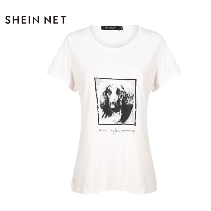 Sheinnrt 2017 Fashion font b Summer b font T shirt Women Dog Print White Loose O