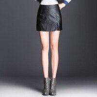 Woman Shorts Skirt PU Leather Autumn 2019 Winter Lady OL Black Skirts Elegant Simple Design S 5XL Plus Size Skirt