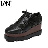 Kadınlar Için Platform Lace Up Oxfords Ayakkabı Yıldız Creepers kadın Oxfords Ayakkabı Rahat Bayanlar Flats Ayakkabı Loafers Siyah
