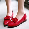 (Black+Red+Blue+Pink) Women's Pumps Japanned Leather Sweet Bow Princess Wedges Shoes For Woman Shallow Mouth Plus Size 40-43