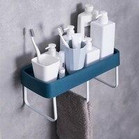 Self Adhesive Plastic Bathroom Shelf With Three Towel Bars Wall Mounted Shower Caddy Storage Organizer Kitchen Spice Holder