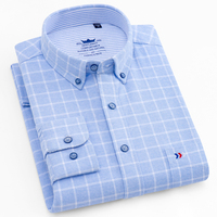 Men's Stylish Thick Brushed Plaid Checkered Shirt Single Patch Pocket Regular fit Long Sleeve Buttoned Collar Cotton Dress Shirt