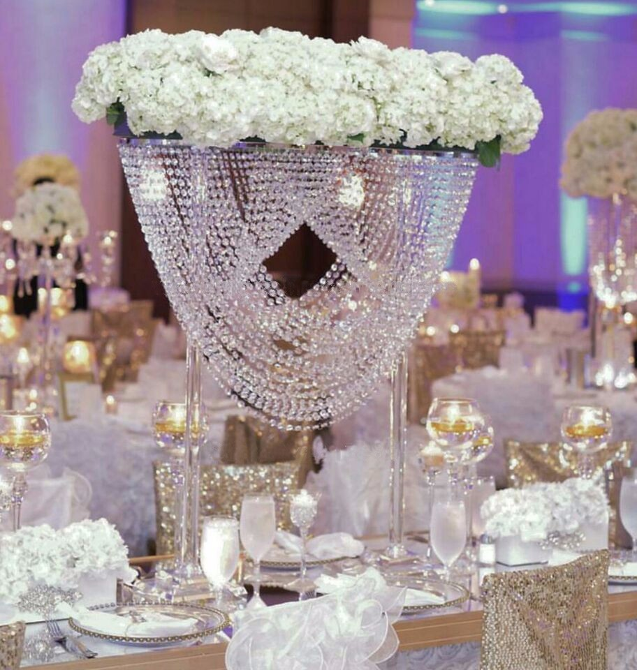 Crystal Table Centerpiece Flower Stand with bead strands Wedding ...