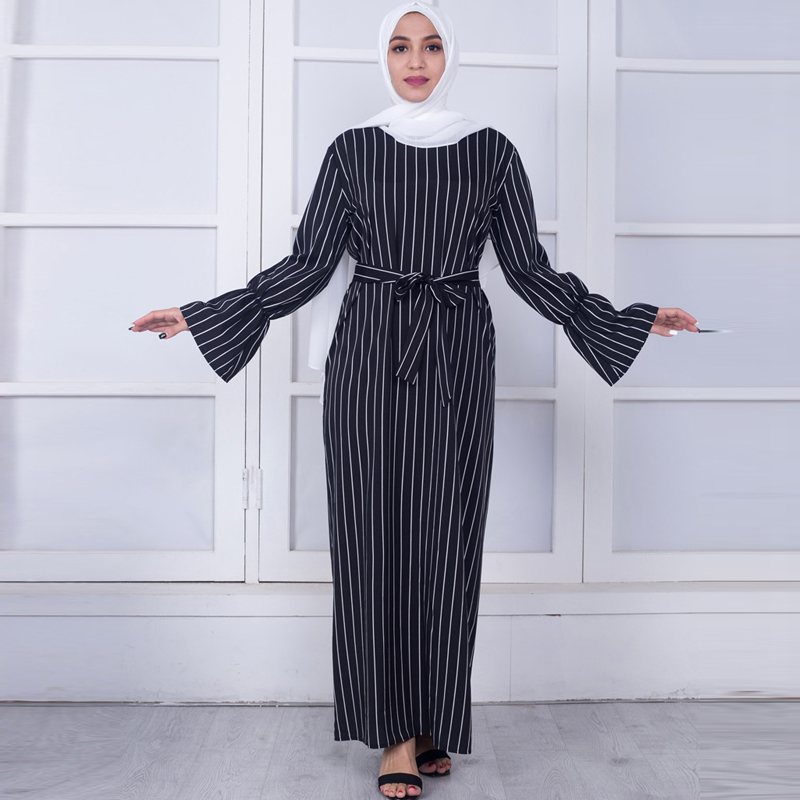 Plus Size Women Kaftans Vestidos 2019 Abaya Dubai Arabic Striped Muslim Dress Ramadan Tesettur Elbise Turkish Islamic Clothing