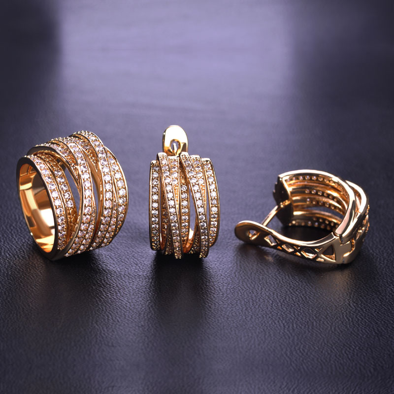 High Quality Luxury Jewelry Sets Earrings Ring Sets Shiny AAA Zirconia Gold Color Noble Charm Women Accessories Bijoux