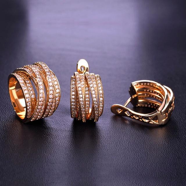 Hoge Kwaliteit Luxe Sieraden Sets Oorbellen Ring Sets Shiny Aaa Zirconia Gouden Kleur Noble Charm Vrouwen Accessoires Bijoux