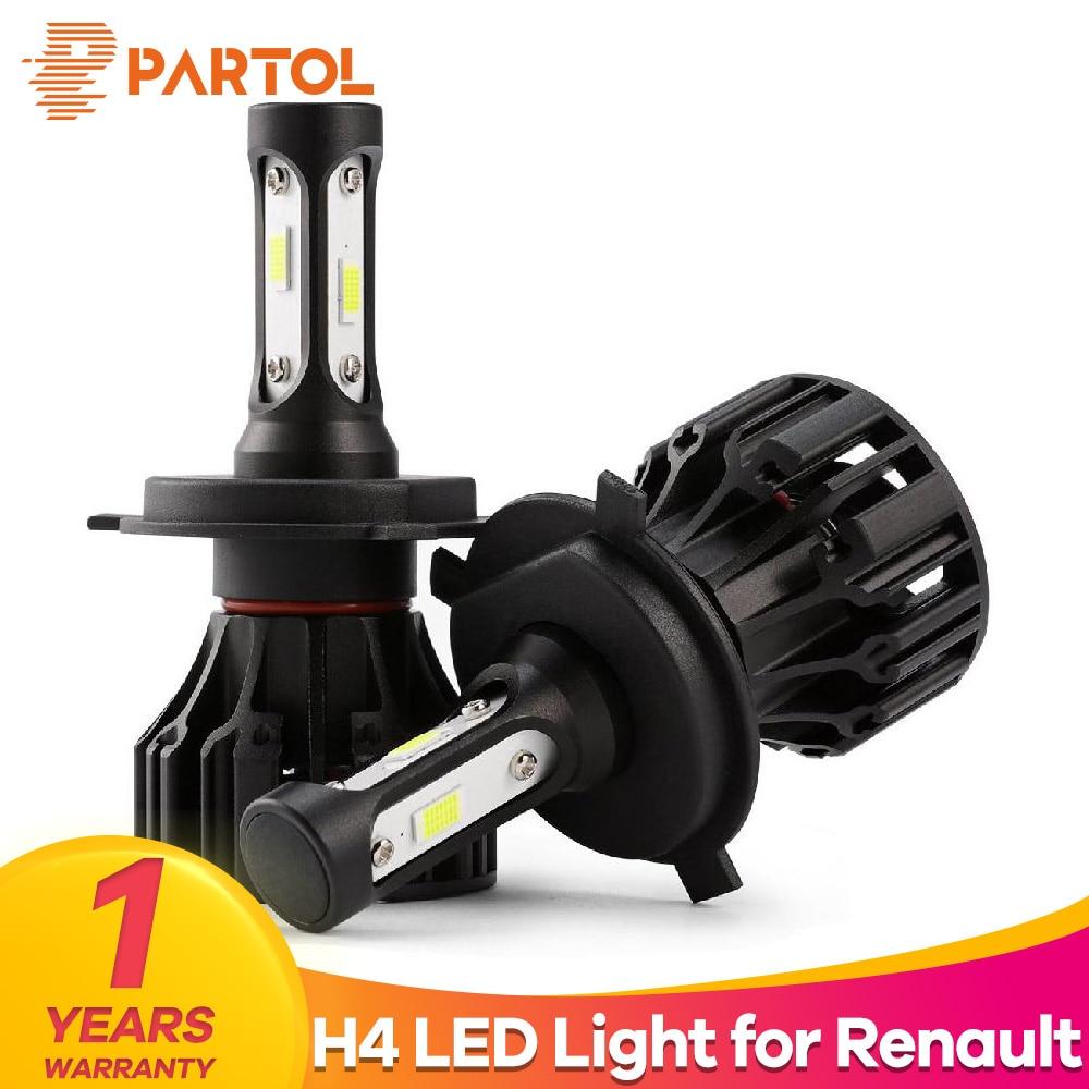 Partol LED T5 H4 Hi Lo Beam Car LED Headlight Bulbs 72W 8000LM Automobile Headlamp Fog Light 6500K DC 12V 24V For Renault Twingo