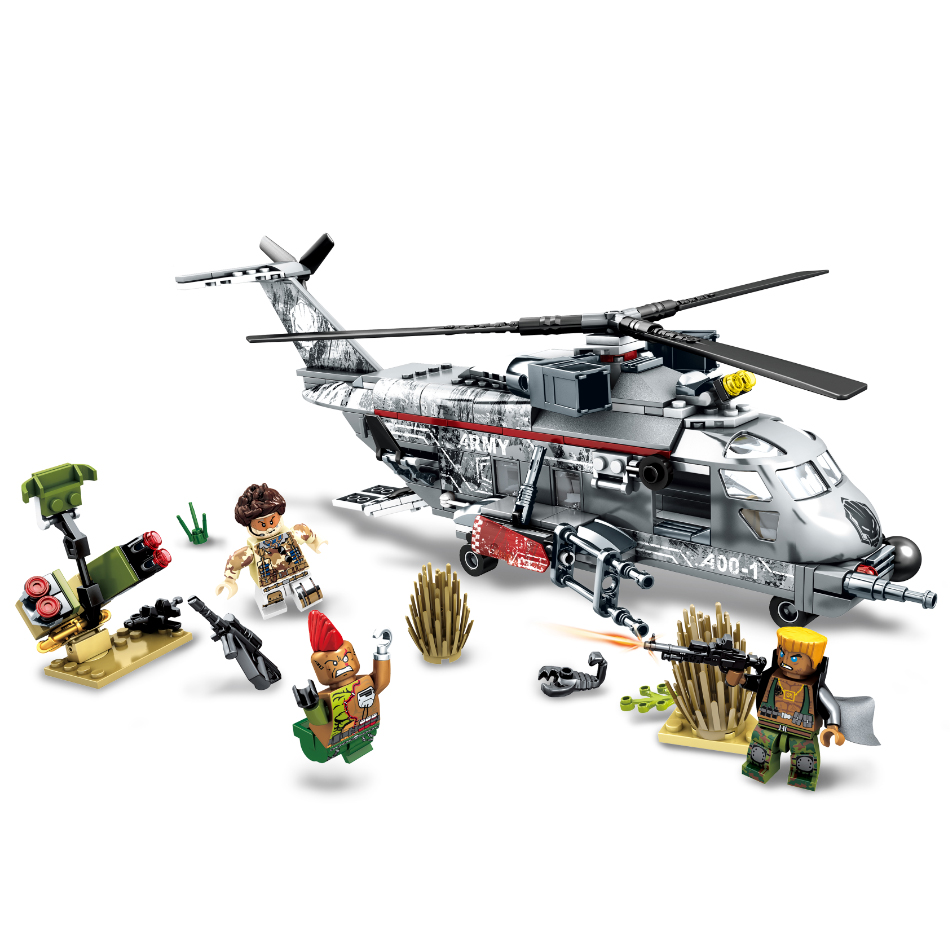 Sembo block 340pcs Military Helicopter Special forces war Building blocks set army soldiers figures bricks toys for children 688 large military 8 in1 747pcs 8 figures building blocks tank warship army war toys for children constructor set compatible lepin