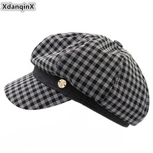 XdanqinX Elegant Delicate Adult Womens Cap Newsboy Caps Fashion British Octagonal Hat For Women Novelty Personality Hip Hop